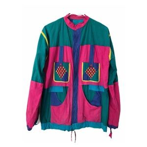 Vtg 80s Colorblock Patchwork Cotton Windbreaker M